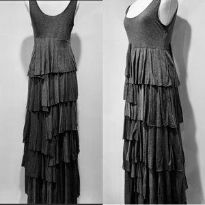Soft Surroundings Grey Maxi Dress. Ruffles. Small